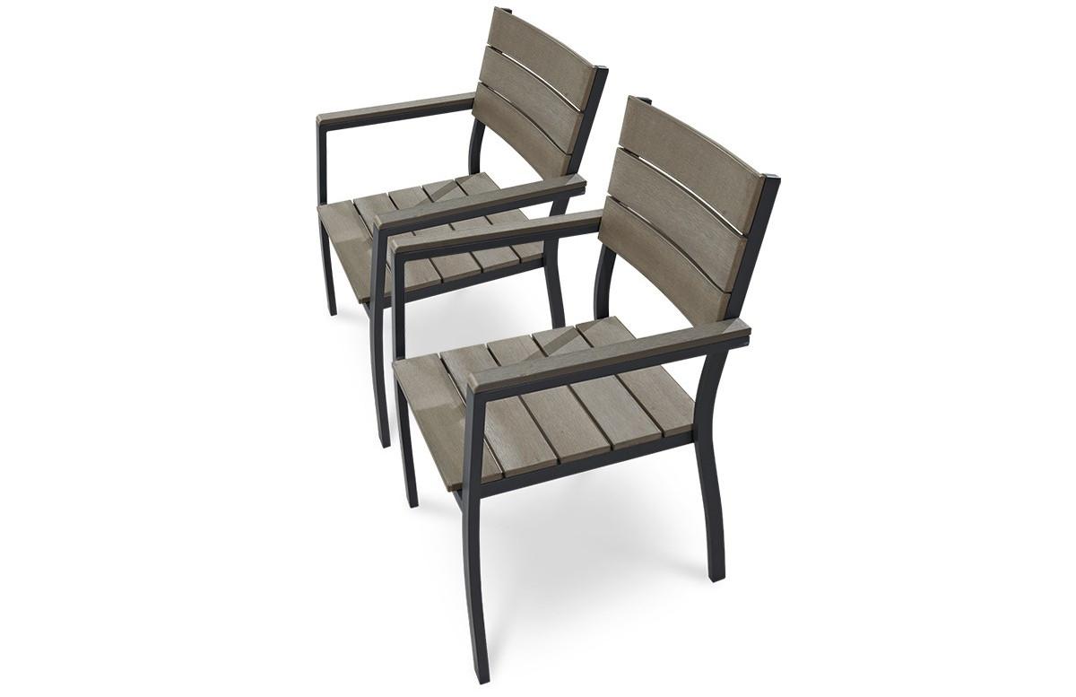 Lot de 2 fauteuils aluminium gris et bois composite