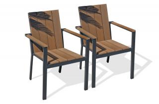 Lot de 2 fauteuils aluminium gris anthracite et bois composite