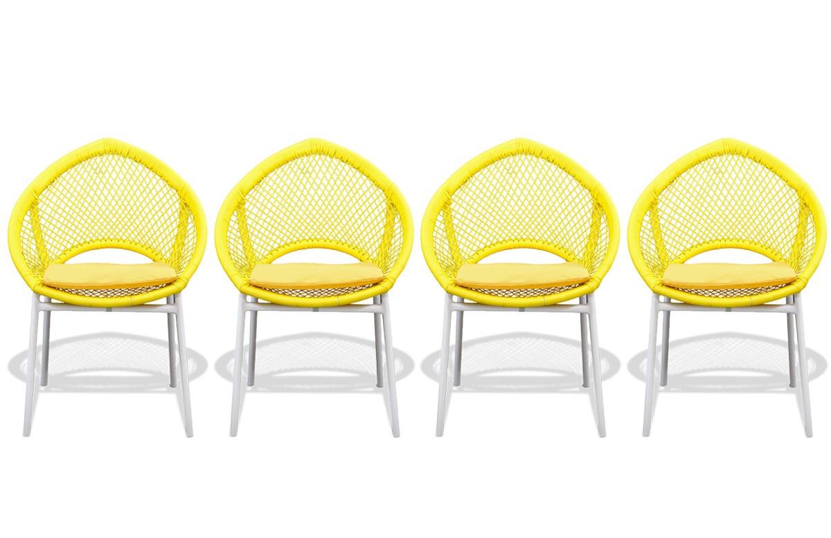 Lot de 4 Chaises jaunes