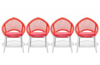 Lot de 4 chaises CALI rouge