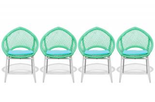 Lot de 4 chaises CALI verte