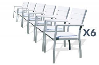 Lot de 6 fauteuils aluminium composite lames blanches