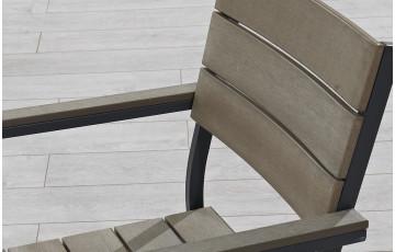 Fauteuil aluminium gris et bois composite dossier courbé