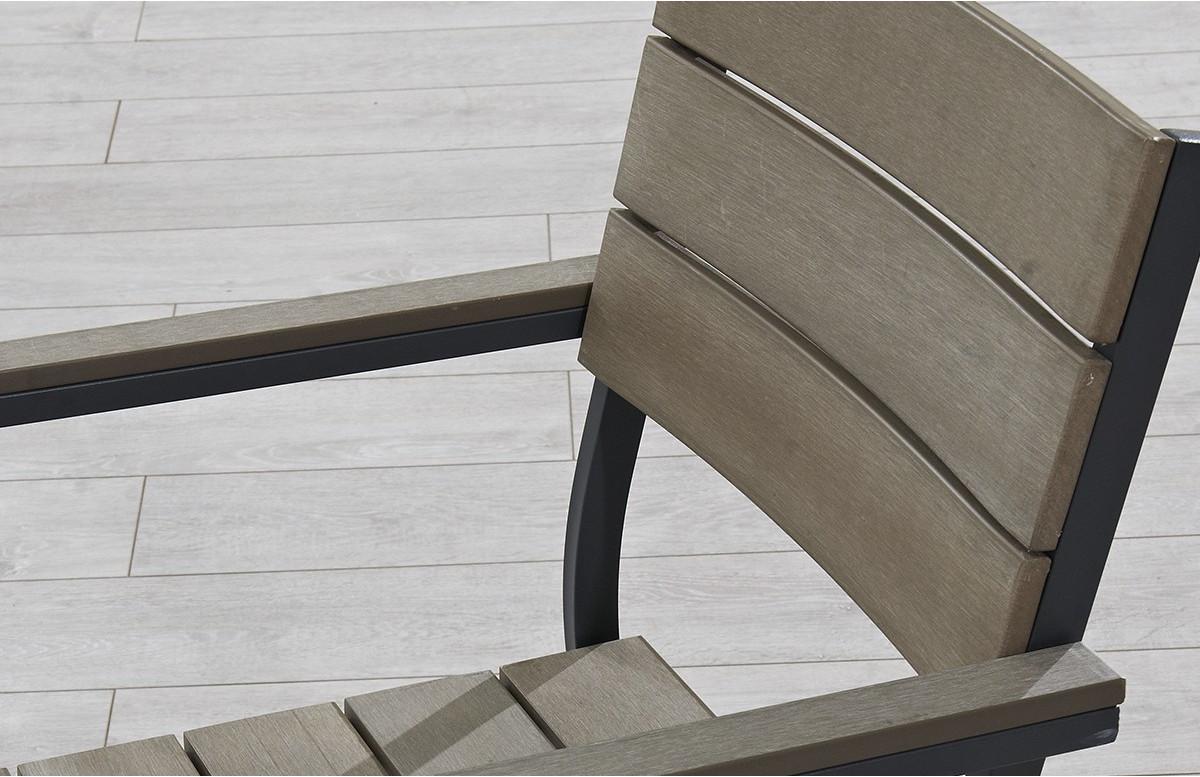 Fauteuil aluminium gris et bois composite