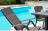 Lot de 4 fauteuils multipositions en aluminium et bois composite