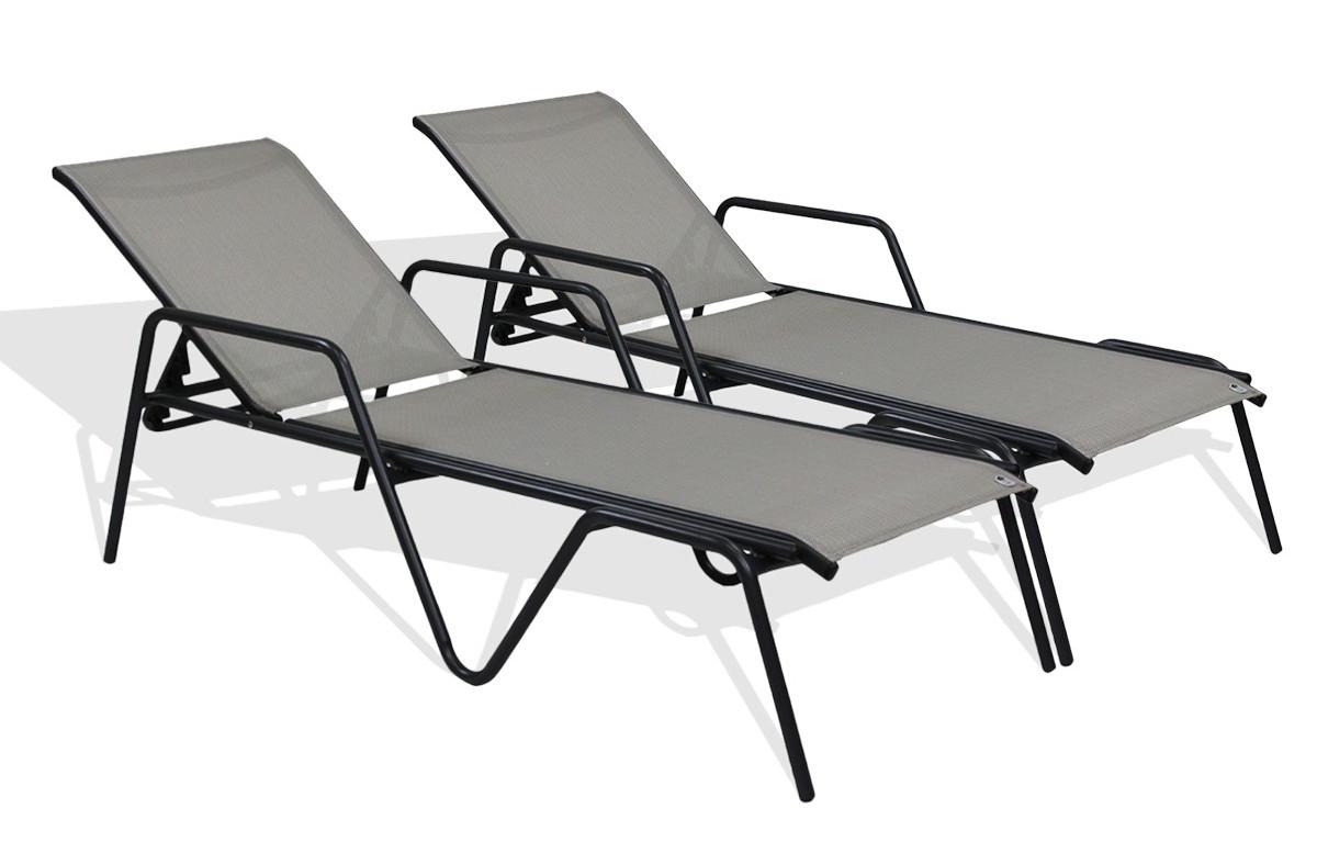Lot de 2 bains de soleil textilène gris aluminium noir