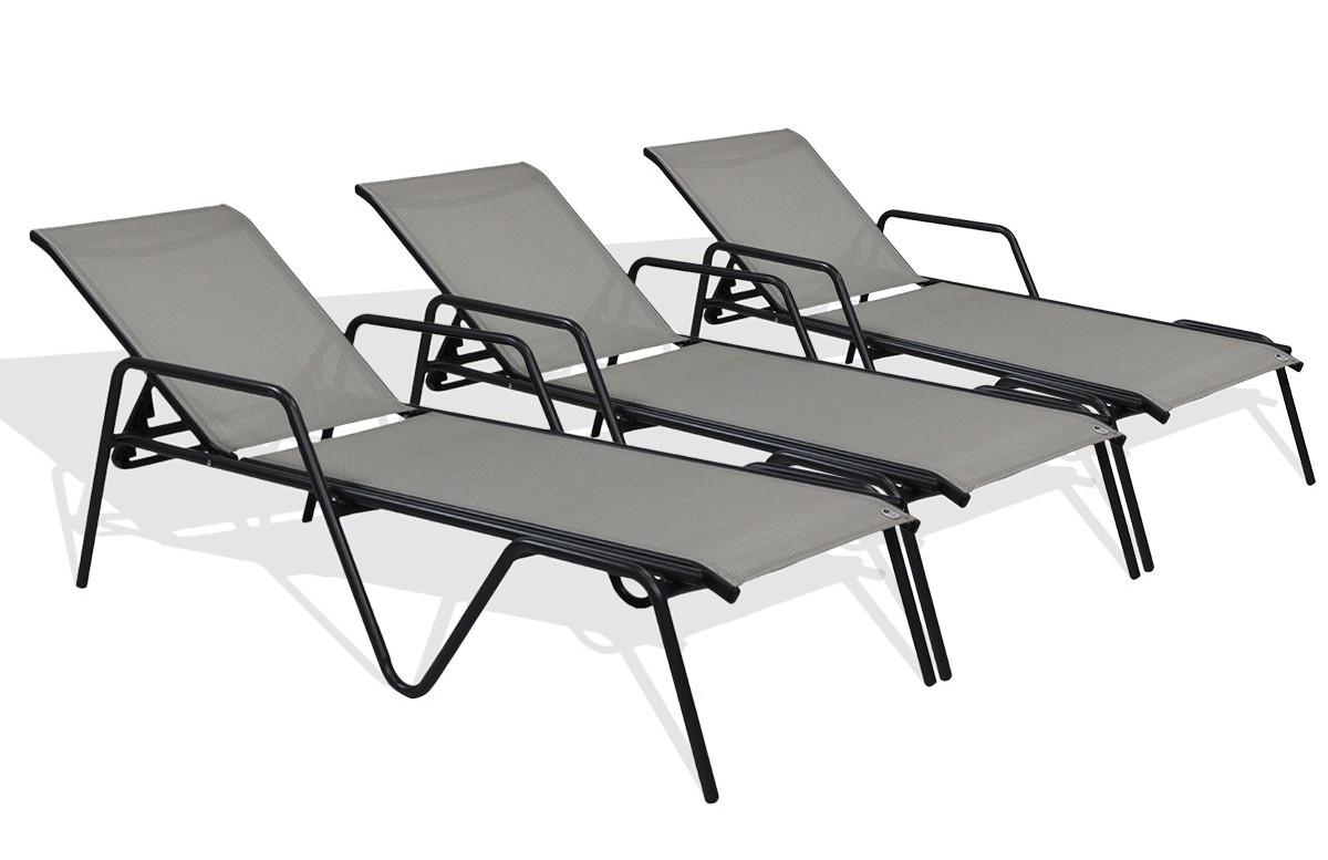Lot de 3 bains de soleil ZEN textilène gris aluminium noir