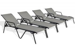 Lot de 4 bains de soleil ZEN textilène gris aluminium noir