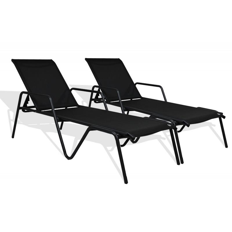 lot de 2 bains de soleil noir le r ve chez vous. Black Bedroom Furniture Sets. Home Design Ideas