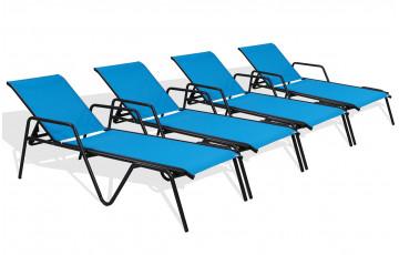 Lot de 4 bains de soleil ZEN turquoise