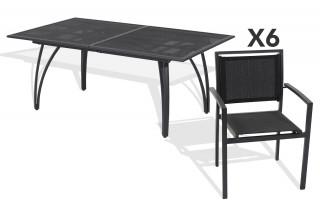 Ensemble table alu rallonge papillon 180/240cm + 6 fauteuils aluminium et textilène noir