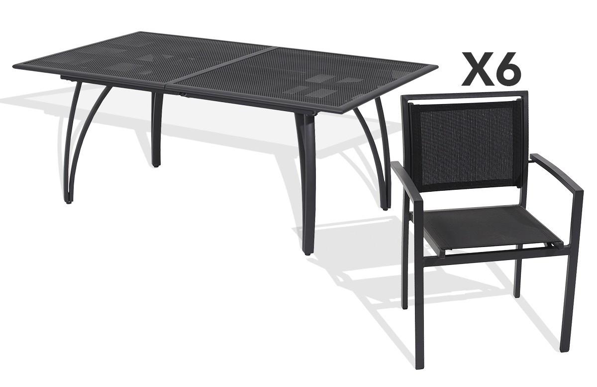 Ensemble table et 6 fauteuils aluminium et textilène noir