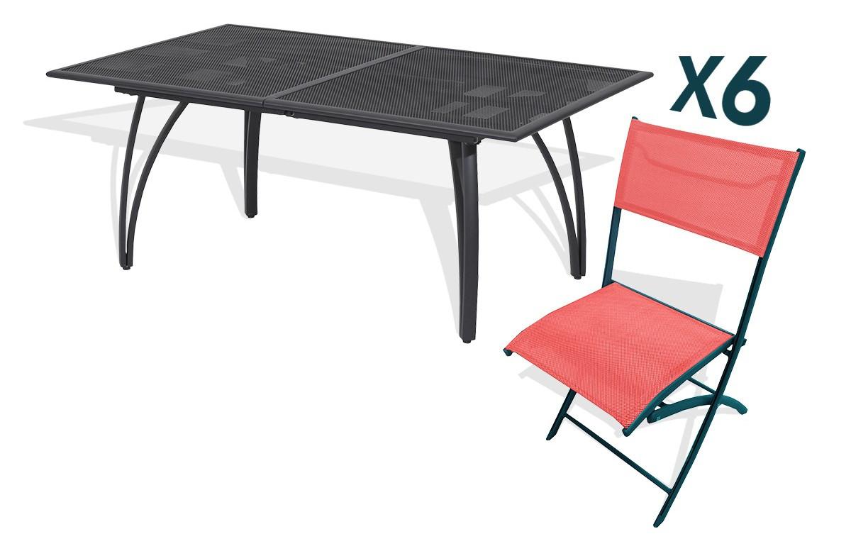 Ensemble table alu rallonge papillon 180/240cm + 6 chaises pliantes aluminium et textilène corail