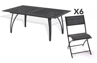Ensemble table aluminium rallonge papillon 180/240cm + 6 chaises pliantes aluminium et textilène