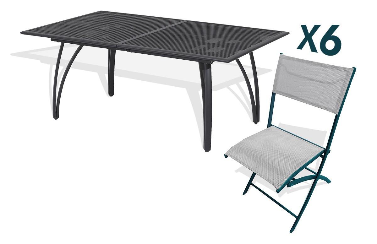Ensemble table alu rallonge papillon 180/240cm + 6 chaises pliantes alu et textilène gris
