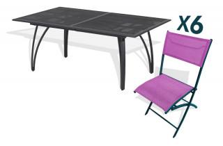 Ensemble table alu rallonge papillon 180/240cm + 6 chaises pliantes alu et textilène prune