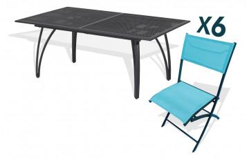 Ensemble table alu rallonge papillon 180/240cm + 6 chaises pliantes alu et textilène turquoise