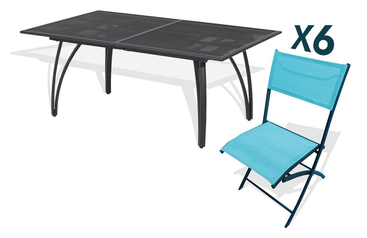Ensemble table et 6 chaises pliantes aluminium et textilène turquoises