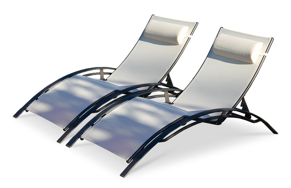 Lot de 2 bains de soleil en aluminium noir et textilène blanc