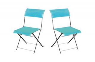 Lot de 2 chaises grises/turquoises