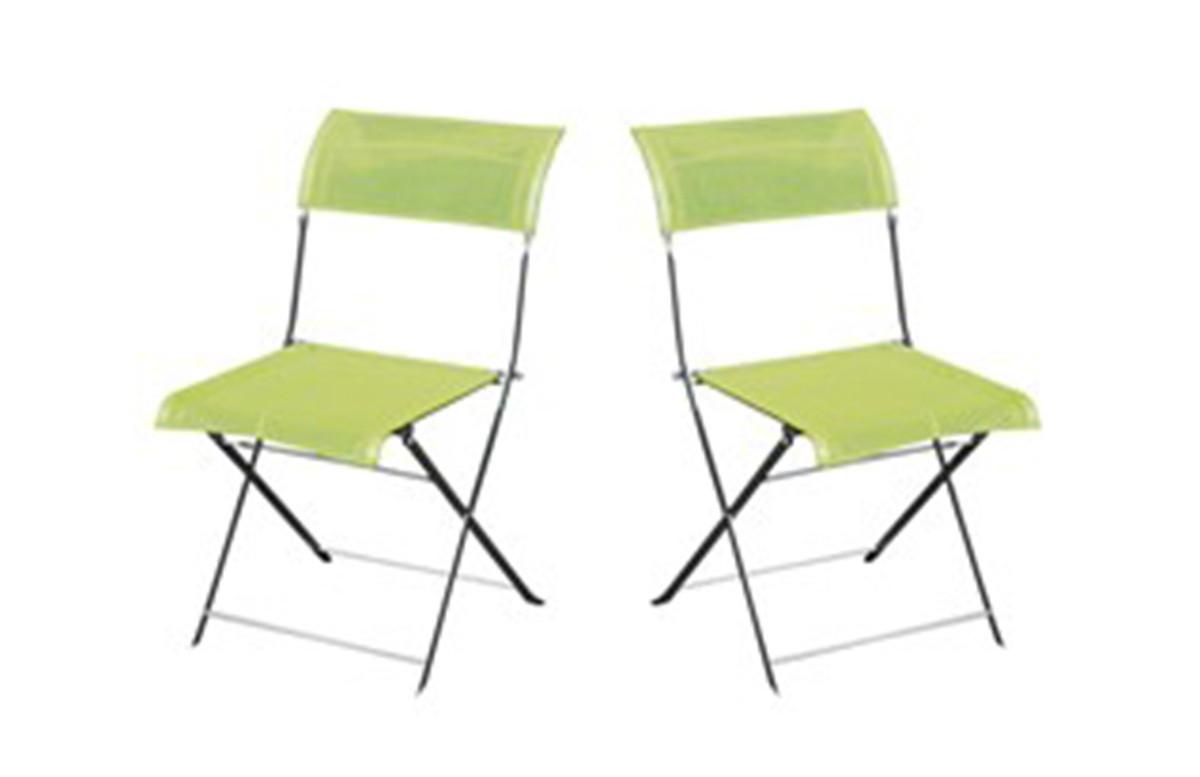 Lot de 2 chaises gris/vert anis