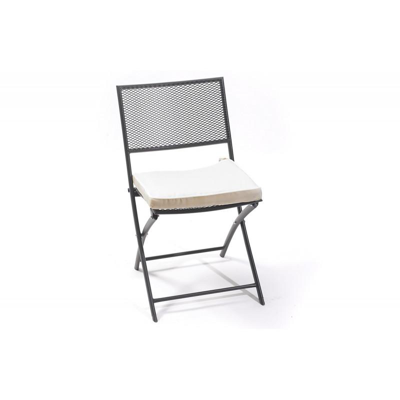 Chaise pliante perforée noire - Le Rêve Chez Vous