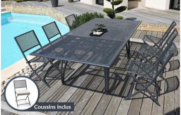 Salon de jardin - Table alu + 6 chaises plateau RALLONGE PAPILLON 180/240 cm