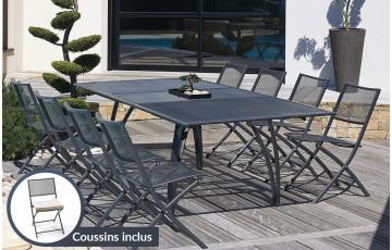 Salon de jardin table alu + 8 chaises plateau rallonge papillon 180/240cm