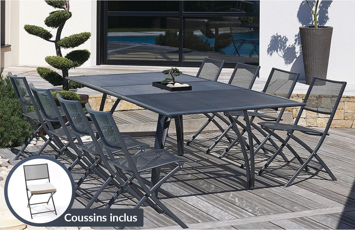 Ensemble table aluminium avec 8 chaises