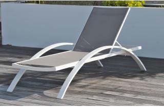 Chaise Longue en textilène gris et alu blanc