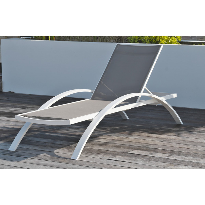 Awesome salon de jardin metal gris pictures amazing for Chaise longue en aluminium