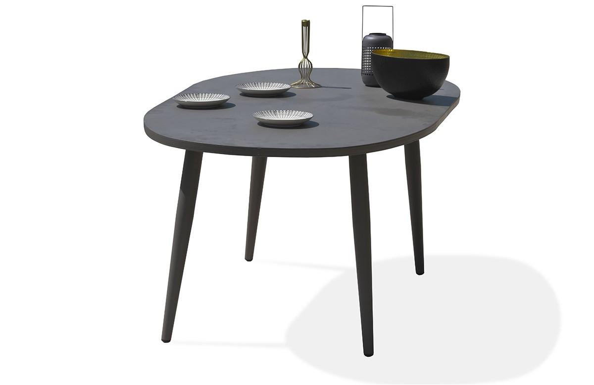 Table ovale en aluminium beige
