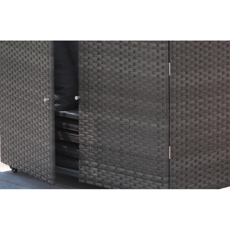 Coffre bar d 39 ext rieur en r sine tress e marron le r ve - Coffre exterieur en resine ...