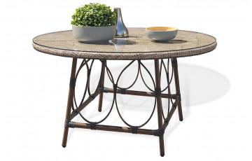 Table en aluminium marron et textilène couleur lin