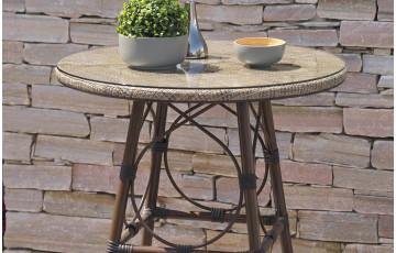 Guéridon en aluminium marron et textilène couleur lin DCB Garden