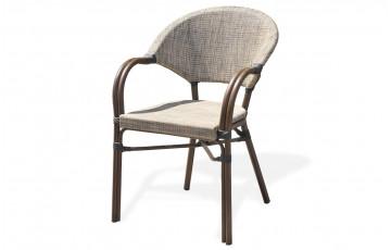 Fauteuil en aluminium marron et textilène couleur lin