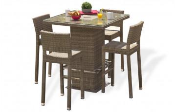 Ensemble table et 4 chaises haute marron