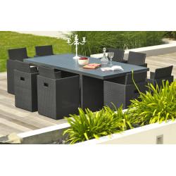 Salon de jardin encastrable 8 places DCB Garden en résine tressée & aluminium noir