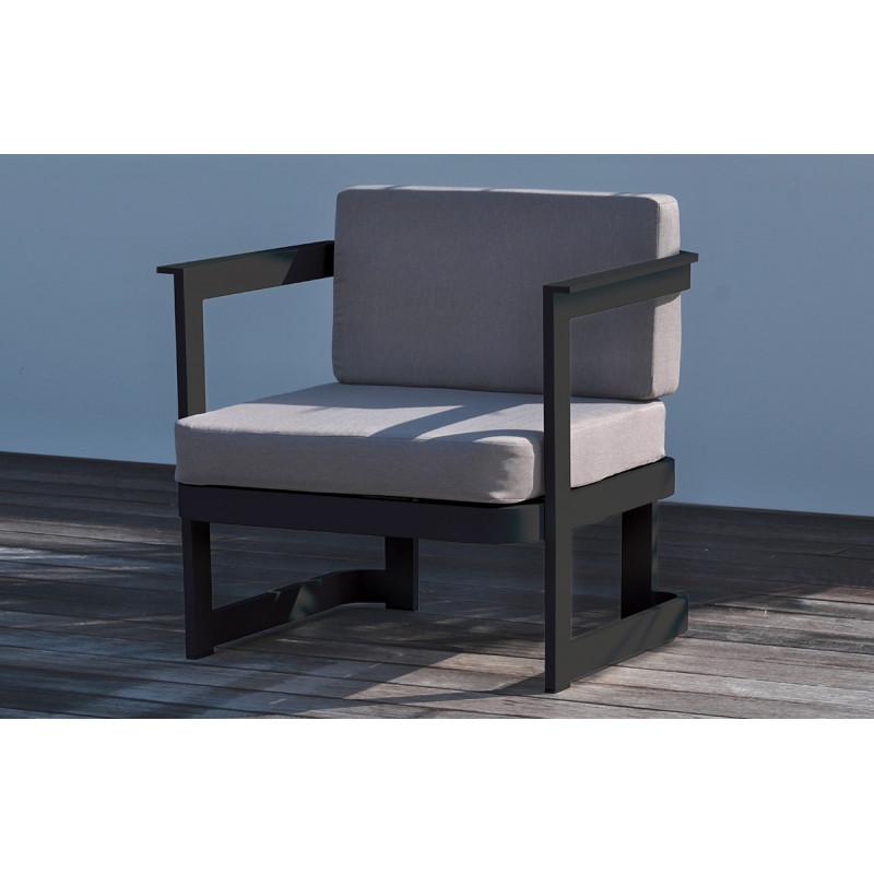 Salon de jardin 4 places en aluminium gris anthracite - Le ...