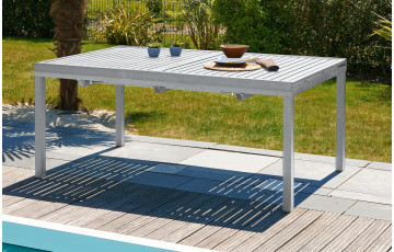 Table aluminium 10-12 places à rallonge papillon coloris gris galet