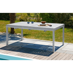 Table aluminium 10 12 places gris galet le r ve chez vous for Table exterieur 12 places