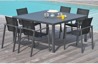 Table carré en aluminium gris anthracite