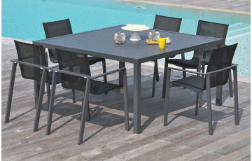 Table carré en aluminium gris anthracite