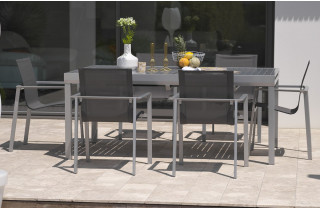 Ensemble table rallonge papillon 8-10 places aluminium gris galet + 6 fauteuils assortis