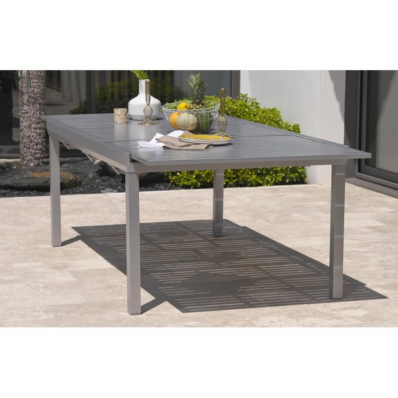 ensemble table 8 10 places aluminium gris galet et 8 fauteuils assortis le r ve chez vous. Black Bedroom Furniture Sets. Home Design Ideas
