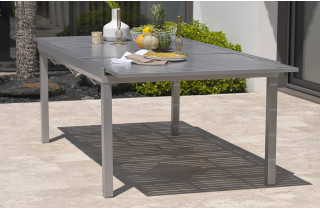 Table aluminium 8-10 places à rallonge papillon coloris gris galet