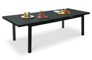 Table en aluminium et verre avec rallonge automatique noir