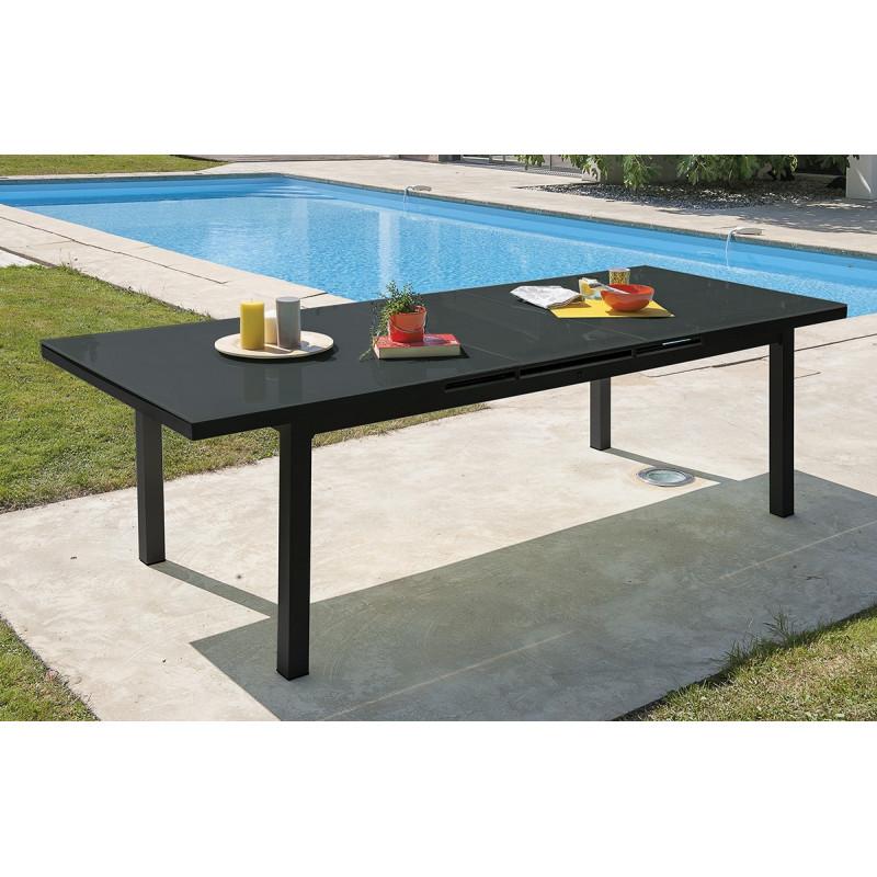 Table en aluminium et verre avec rallonge automatique - Le Rêve Chez ...
