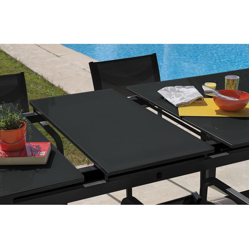 table de jardin en verre avec rallonge interesting nice salon de jardin places en aluminium. Black Bedroom Furniture Sets. Home Design Ideas