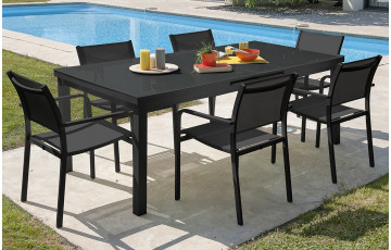 Ensemble table aluminium verre MIAMI + 6 fauteuils
